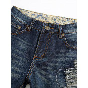 Zipper Fly Frayed Stitching Ripped Jeans - DEEP BLUE DEEP BLUE