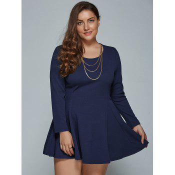Long Sleeve Plus Size Short Skater Tunic Dress - PURPLISH BLUE L