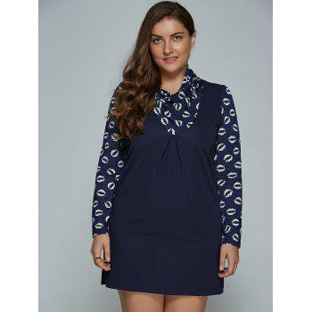 Lip Print Plus Size Mini Dress - PURPLISH BLUE L