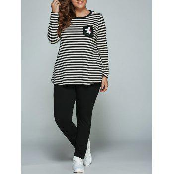 Plus Size Long Sleeve Striped Outfits