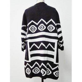 Two-Toned Striped Knitted Cardigan - BLACK ONE SIZE