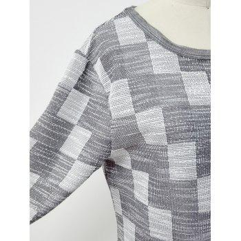 Checkered Print High Low Plus Size Dress - GRAY ONE SIZE