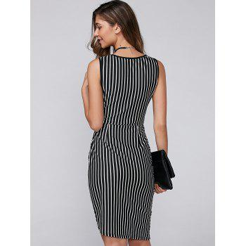Asymmetric Sleeveless Striped Bodycon Dress - STRIPE STRIPE