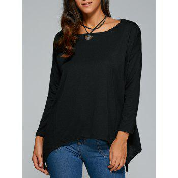 Hankerchief Hem Long Sleeves Casual Top - BLACK BLACK