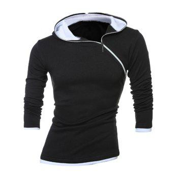 Slim-Fit Side Zip Design Pullover Hoodie