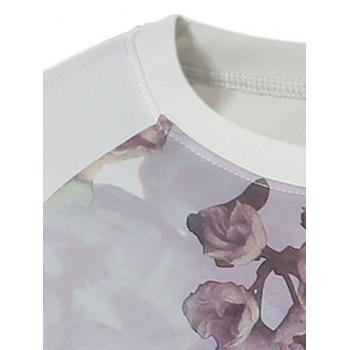 Crew Neck Raglan Sleeve Flower Printed T-Shirt - COLORMIX L