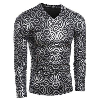 Slim-Fit Scale Print Long Sleeve T-Shirt