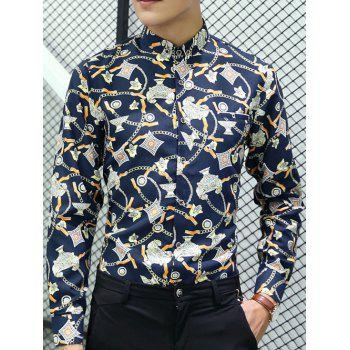 Button-Down All Over Printed Long Sleeve Shirt