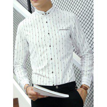 Long Sleeve Faux Pocket Design Striped Shirt