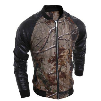 3D Print PU Spliced Raglan Sleeve Jacket