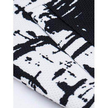 Stand Collar All-Over Abstract Printed Jacket - WHITE/BLACK M