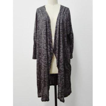 Ruffled Heather Long Cardigan