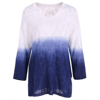 Lace Long Sleeve Gradient Loose Tee