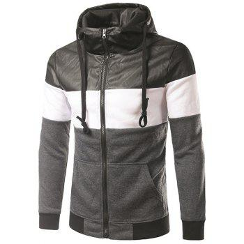 Color Block PU-Leather Spliced Hooded Zip-Up Hoodie
