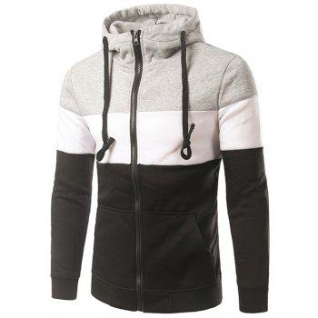 Color Block Spliced Design Hooded Zip-Up Hoodie