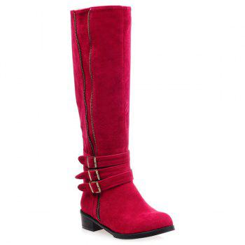 Buckles Zip Suede Knee-High Boots