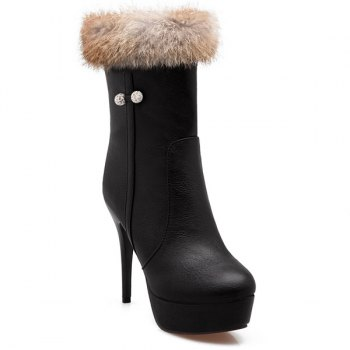 Faux Fur Platform High Heel Boots