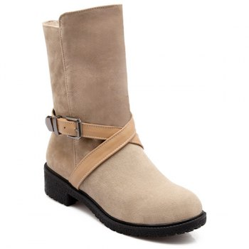 Cross-Strap Buckle Suede Mid-Calf Boots