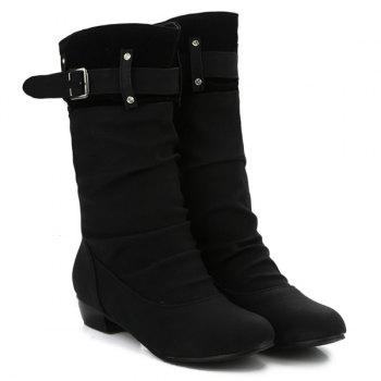 Rhinestone Buckle Ruched Mid-Calf Boots - BLACK 40