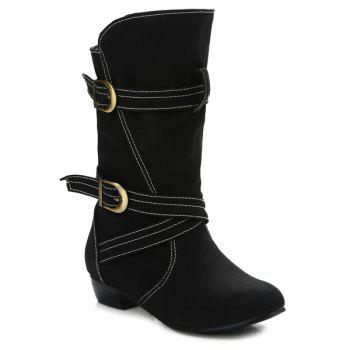 Buy Buckle Straps Stitching PU Leather Mid-Heel Boot BLACK