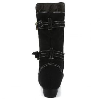 Boucle Straps Stitching cuir PU Mid-Heel Boot - Noir 39