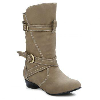 Buckle Straps Stitching PU Leather Mid-Heel Boot