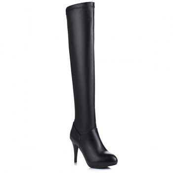 PU Leather High Heel Thigh Boots