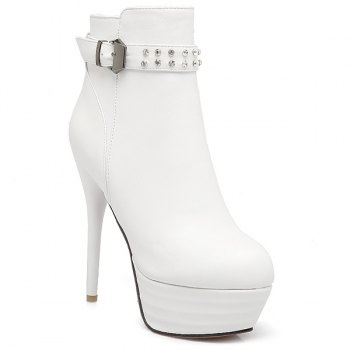 Buckle Rhinestone Stiletto Heel Ankle Boots