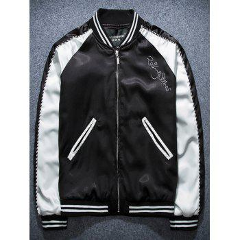 Zip Up Lip Print Raglan Sleeve Jacket