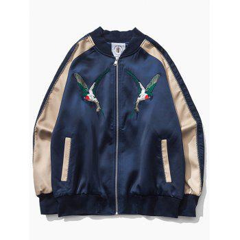 Color Block Bird Embroidered Raglan Sleeve Zip-Up Jacket