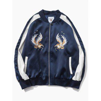 Color Block Eagle Embroidered Raglan Sleeve Zip-Up Jacket