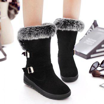 Buckle Embellished Slip On Fur Ankle Boots