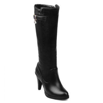 Buckle Metallic Embellished High Heel Mid Calf Boots