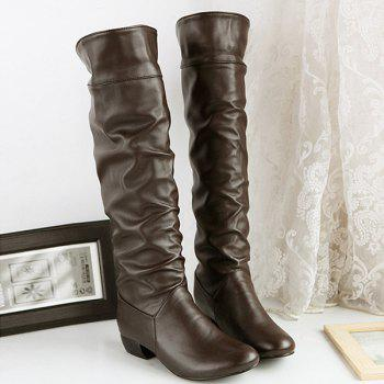 Fold Over Low Heel Ruched Knee High Boots