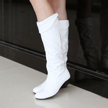 fold low heel ruched knee high boots white in boots