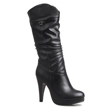 Metallic Embellished High Heel Ruched Mid Calf Boots