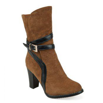 Square Toe Buckle Strap Embellished Suede Ankle Boots