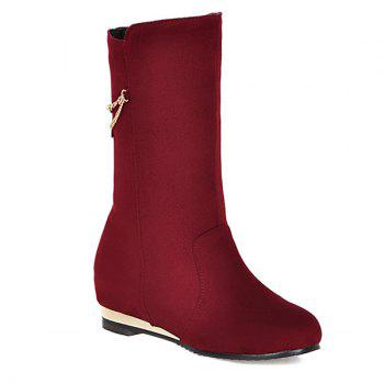 Buy Slip Chains Embellished Increased Internal Suede Mid Calf Boots RED
