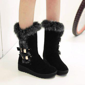 Buckle Embellished Slip On Mid Calf Fur Boots
