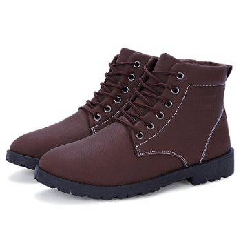 PU Leather Lace Up Vintage Boots - BROWN 43