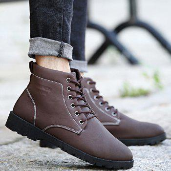PU Leather Lace Up Vintage Boots - BROWN 42