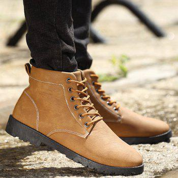 PU Leather Lace Up Vintage Boots - YELLOW 43