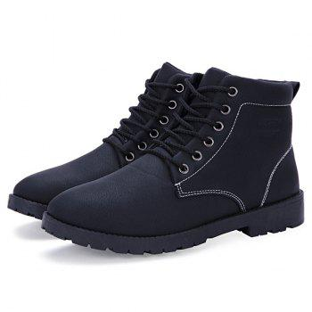PU Leather Lace Up Vintage Boots - BLACK 44