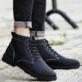 PU Leather Lace Up Vintage Boots - BLACK 40