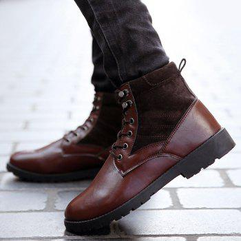Suede Splicing Lace Up PU Leather Vintage Boots - BROWN 42