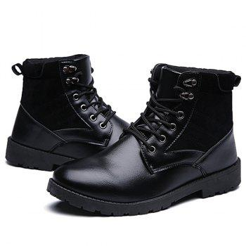 Suede Splicing Lace Up PU Leather Vintage Boots - BLACK 43