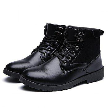 Suede Splicing Lace Up PU Cuir Vintage Bottes - Noir 42