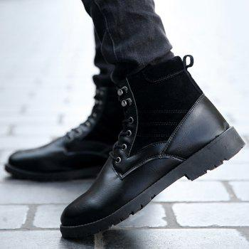Suede Splicing Lace Up PU Leather Vintage Boots - BLACK 40