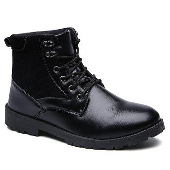 Suede Splicing Lace Up PU Leather Vintage Boots