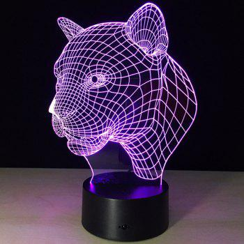 Christmas Festival 3D Leopard Head Shape Touch Colorful Night Light - TRANSPARENT TRANSPARENT